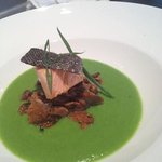 Skuna Bay Salmon with Chantrelles and a Spring Pea Sauce