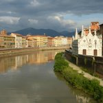 View of hotel from across the Arno River