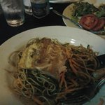 Grilled salmon fillet with chilled noodles