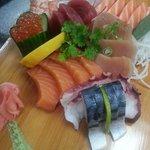 sashimi - ikura, tuna, albacore tuna, salmon, saba