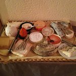 Tray of fresh cheese - all of which were delicious!