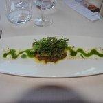 Ensalada de Foie a la sartén, lentejas y brotes de mostaza