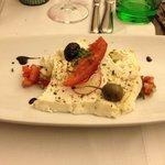 Warm Feta with fennel-tomato salsa & coriander vegetable.