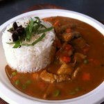 red thai curry with jasmin rice