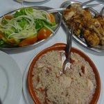 Roast Chicken (yum) Tomato onion salad(wow) Octopus rice