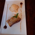 whisky bread and butter pudding and banana ice cream