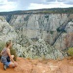 Your hostess marveling over Zion Canyon - on a hike away from the crowds
