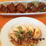 Appetizers: burned ends brisket over sweet potato mash and the baked apple with honey. Fantastic