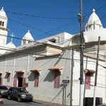 Church in the central plaza of Quebradillas