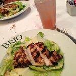 ceasar chicken salad and pink lemonade