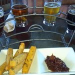 Beer sampler and chickpea fries