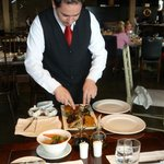 dinner in the restaurant - not always personally served but always silver service