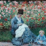 Claude Monet.  Camille Monet and a Child in the Artist's Garden in Argenteuil, 1875