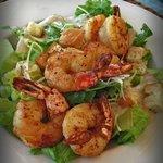 A shrimp dish is presented for lunch on the oceanside deck at Cobalt Coast Resort