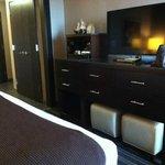 6-drawer dresser with large flat screen TV in regular room