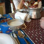table setting, ayran and bread