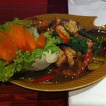 Excellent shrimp in pepper sauce dish.