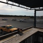 Small outside deck overlooking air field