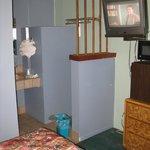 Room #2 Frig,Micro, TV and bathroom sink area