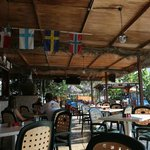 Restaurant with swimming pool and Nordic flags