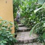 Beco com a escada na chegada ao Hostel