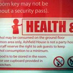"""Not a party hostel"" notice in rooms"