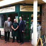 The Mayor and Deputy Mayor with Claudio at Nonna Cappuccini's