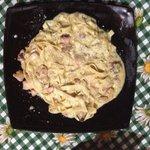Pasta con salsa de mariscos