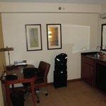 Desk/kitchen area