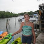 Our grandaughter on the dock