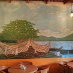 Part of the mural in the dining area of Viva Mexico.