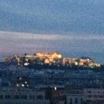 View of the Acropolis from the bar atop the Raddison Blu Park