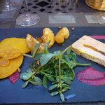 foie gras et blinis de potimaron