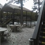 Upper deck of the patio and nice view of the lake.