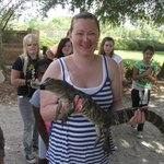Holding the baby alligator!