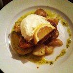 Cajun marinated Tuna steak with sour cream & new potatoes