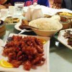 Orange chicken, Mongolian beef and an assortment of dim-sums