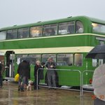 when the rain came down they brought the buses near to the museum