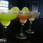 Here is a side by side by side pic of the Midori, Hibiscus and Traditional Margarita..