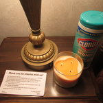 My Clorox wipes, the candle (to try to change the smell) and the management note ...notice no na
