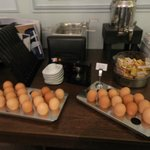 Boiled eggs and ready to be boiled