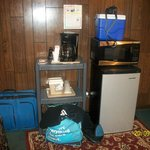 Fridge, coffee maker, microwave