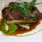 Main: Roasted rump of lamb, crushed minted peas, fondant potato & roasted salsify.