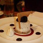Baked prune & Armagnac cheesecake, vanilla mascarpone.