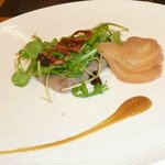 Starter: Duck rillette, confit orange puree, pickled pears, candied walnut, crispy shallots & wa