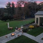 Autumn fire pit and grounds from room