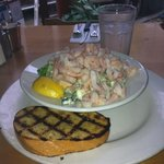 Greek Ceasar small portion with shrimp and garlic toast. It's bigger than it looks.