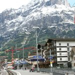 Derby on right of Train station - Wetterhorn behind
