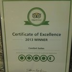 Trip Advisor Certificate Proudly Displayed Near Front Desk