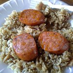 Breakfast fried rice with Portuguese sausage.  Yum!